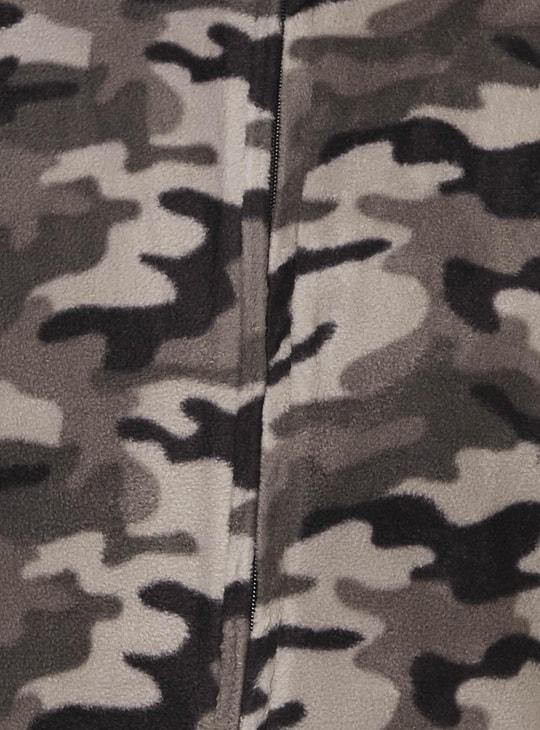 MAX Camouflage Print Front Zip Sweatshirt