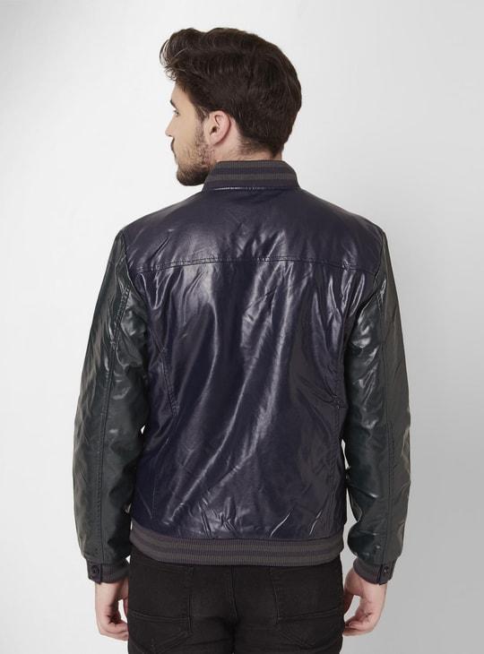 MAX Stand Collar Front Zip Biker Jacket