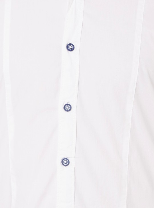 MAX Contrast Cuffs Roll-Up Sleeves Shirt