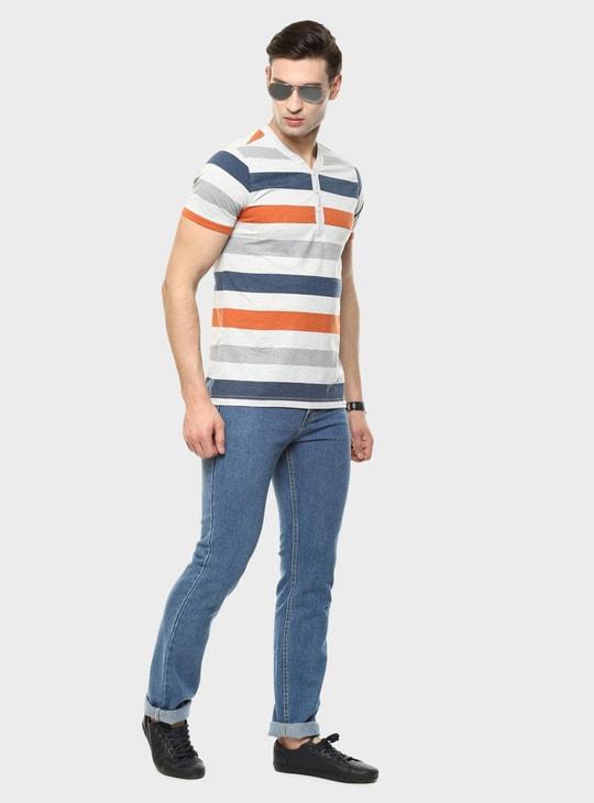 MAX Henley Collar Printed T-Shirt