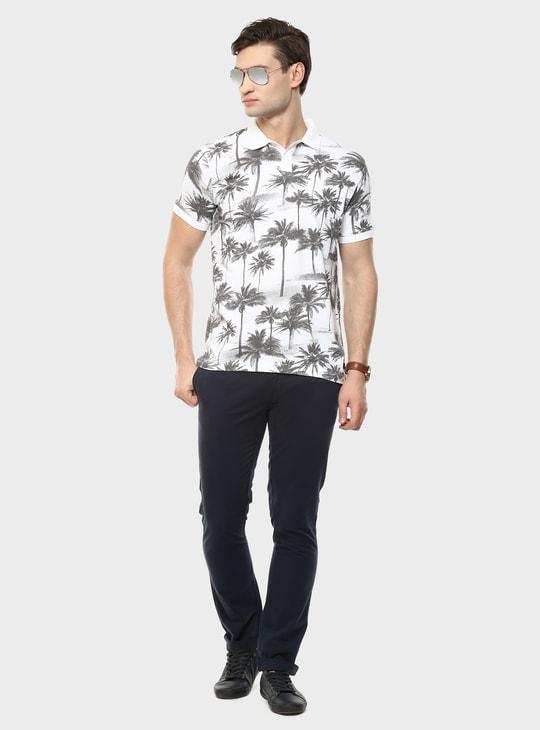 MAX Palm Print Polo Neck T-Shirt
