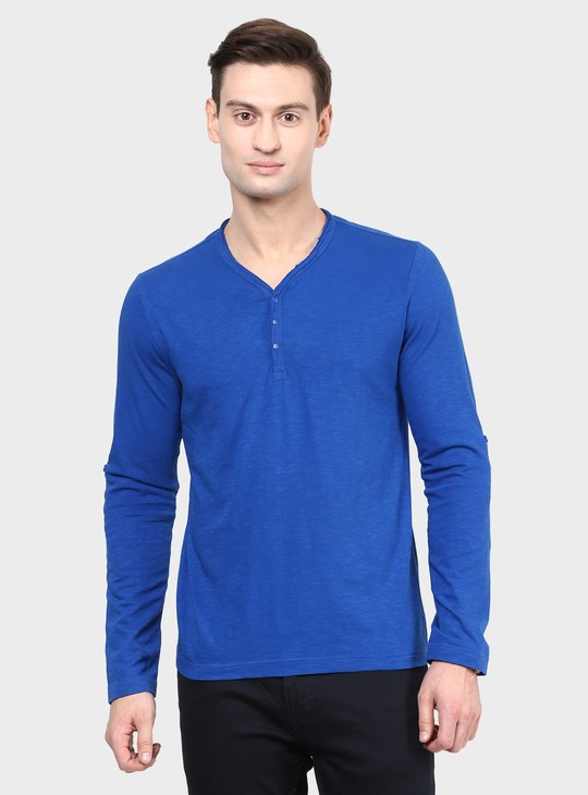 MAX Solid Henley Collar Full Sleeves T-Shirt
