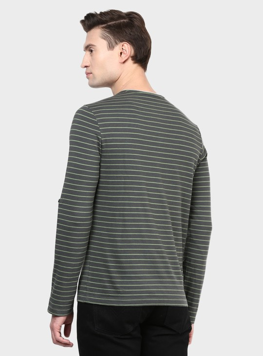 MAX Striped Henley Collar T-Shirt