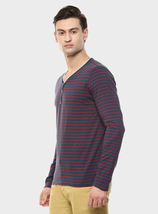 MAX Striped Henley Collar T-Shirt