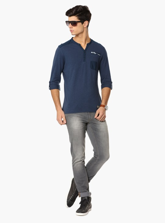 MAX Roll-Up Sleeves Henley Collar T-Shirt