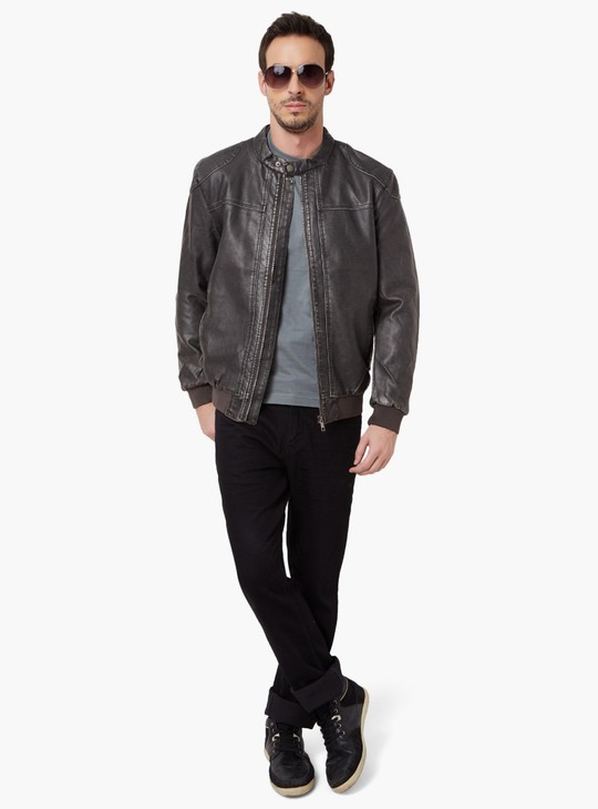 MAX Zip-Up Faux Leather Jacket