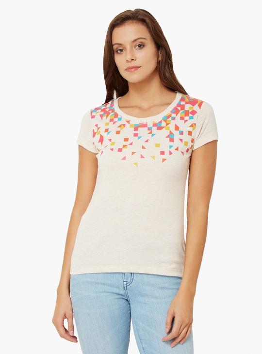 MAX Geometric Print Round Neck T-Shirt