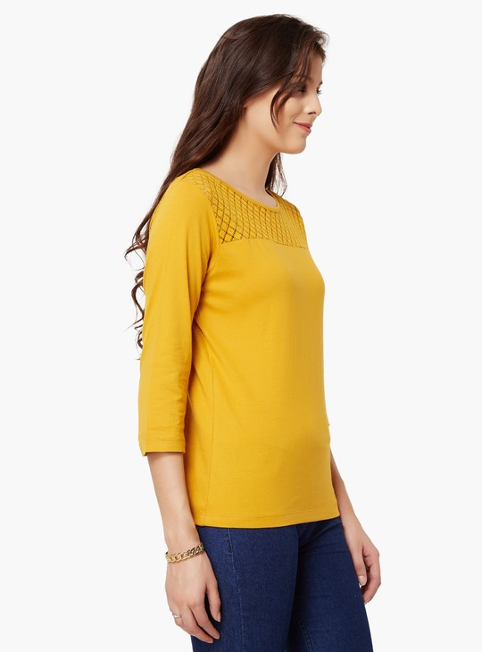 MAX Solid 3/4th Sleeves Top