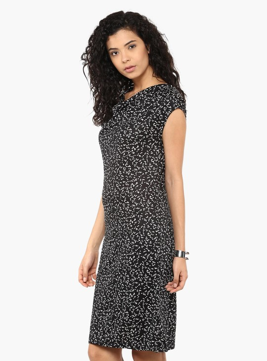 MAX Printed Cowl Neck Dress