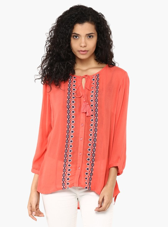 MAX Embroidered Tie-Up Neck Tunic
