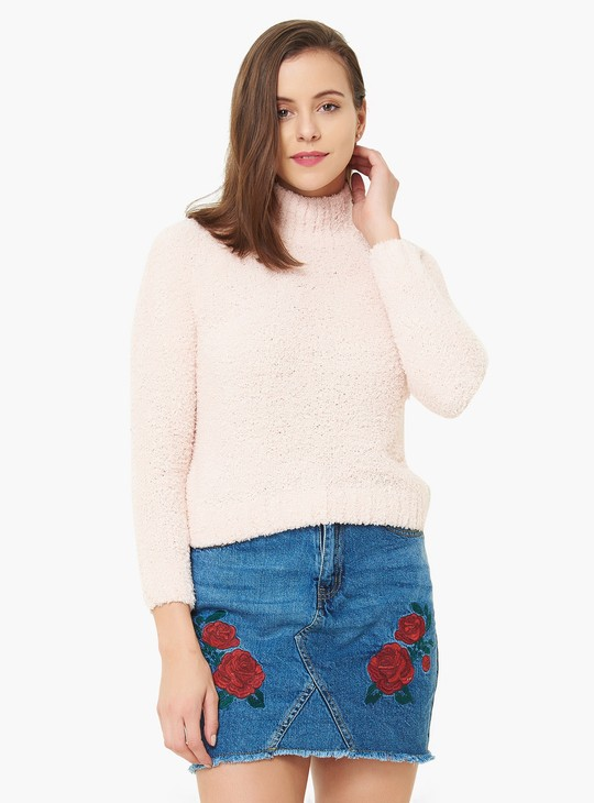 MAX Fuzzy Knit High Neck Full Sleeves Sweater