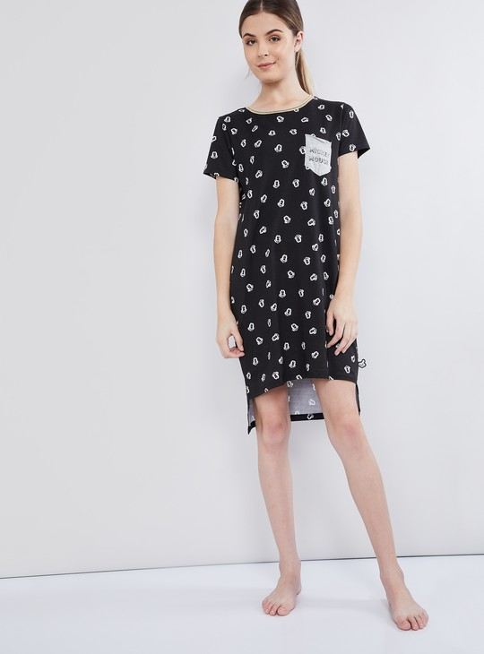 MAX Mickey Mouse Print Vented Hem High-Low Chemise