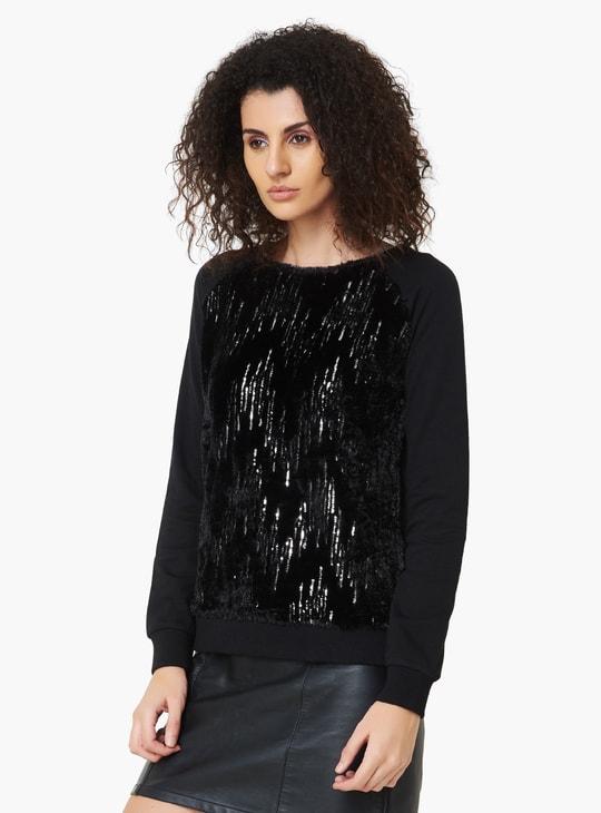 MAX Sequined Full Sleeves Sweatshirt