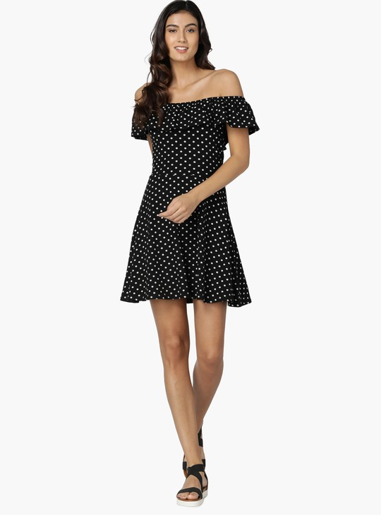 MAX Printed Flared Bardot Dress