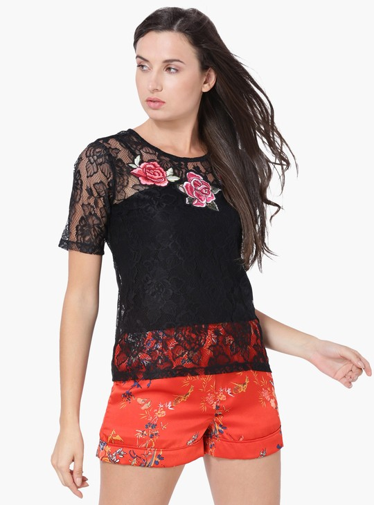 MAX Sheer Lace Embroidered Top