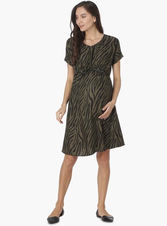 MAX Printed V-Neck Tie-Up Waist Maternity Dress