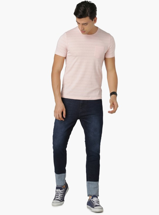 MAX Striped Patch Pocket Crew Neck T-Shirt