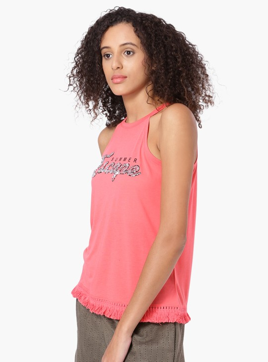MAX Good Vibes Fringed Halter Top