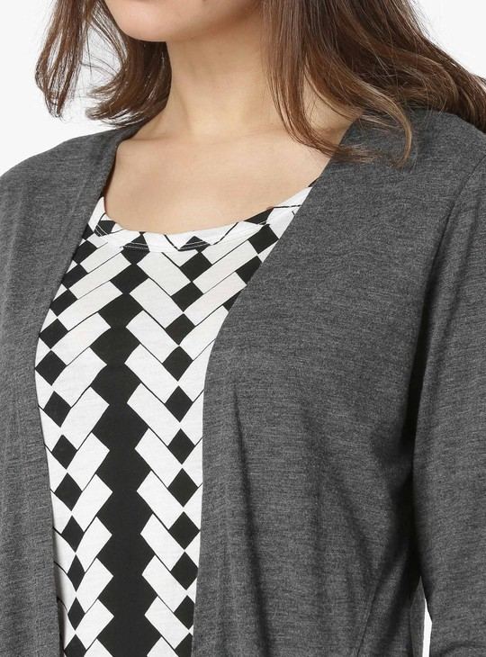 MAX Printed Full Sleeves Layered T-Shirt And Shrug