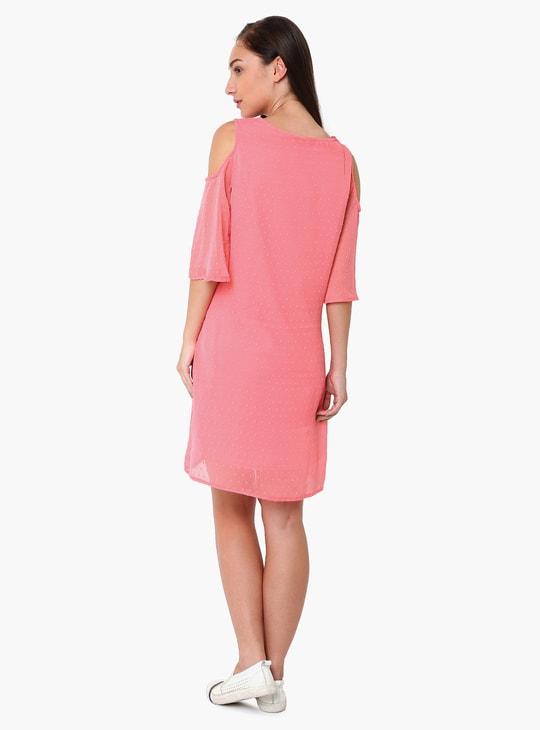 MAX Patterned Cold-Shoulder Sleeve Maternity Dress