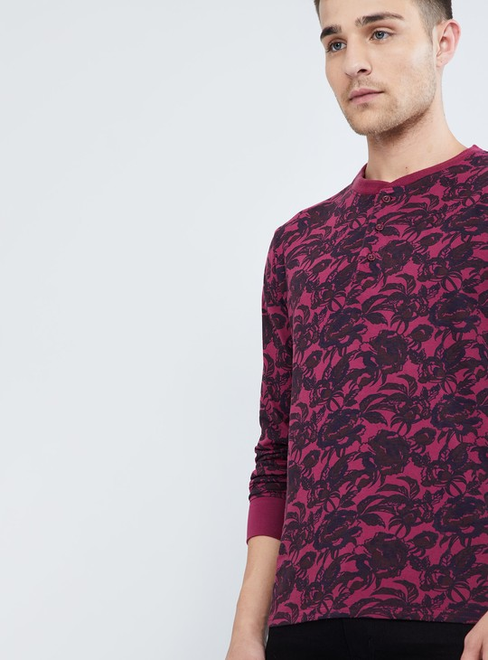 MAX Floral Print Henley Neck Full-Sleeve T-Shirt