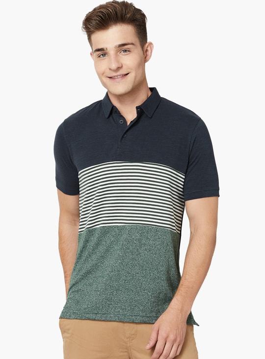 MAX Stripes Panelled Colour Blocked Polo Neck T-Shirt
