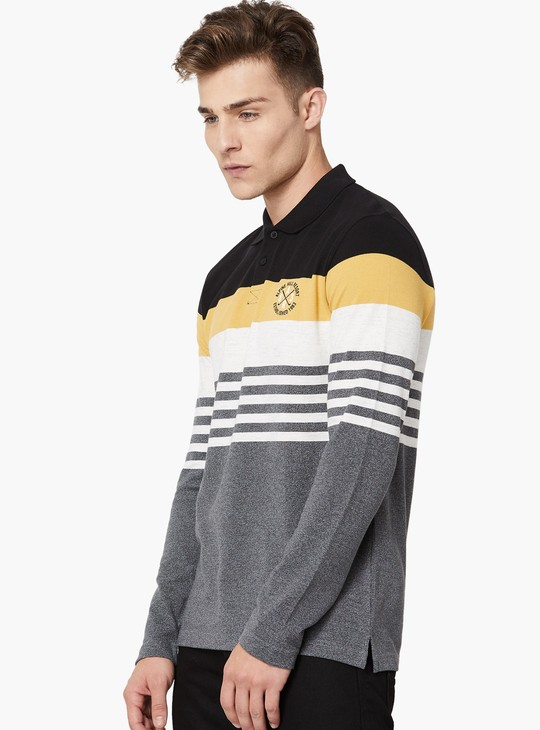 MAX Striped Pique Knit Full Sleeve Polo T-shirt