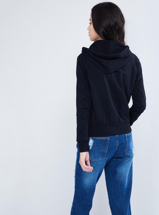 MAX Applique Detail Zip-Up Hooded Sweatshirt