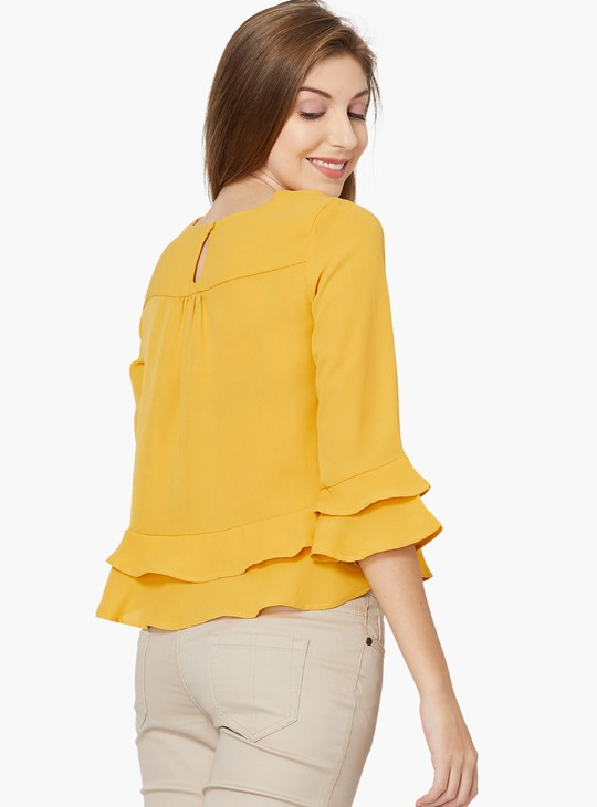 MAX Solid Ruffle Detailed Hem Top