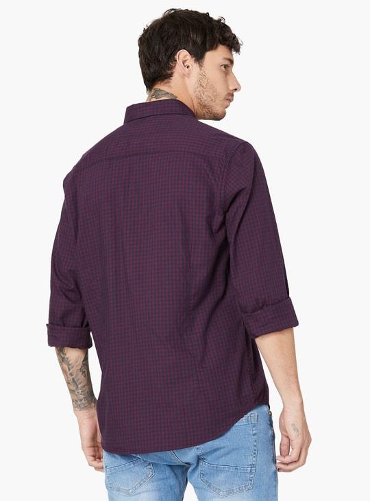 Micro Check Button-Down Collar Shirt