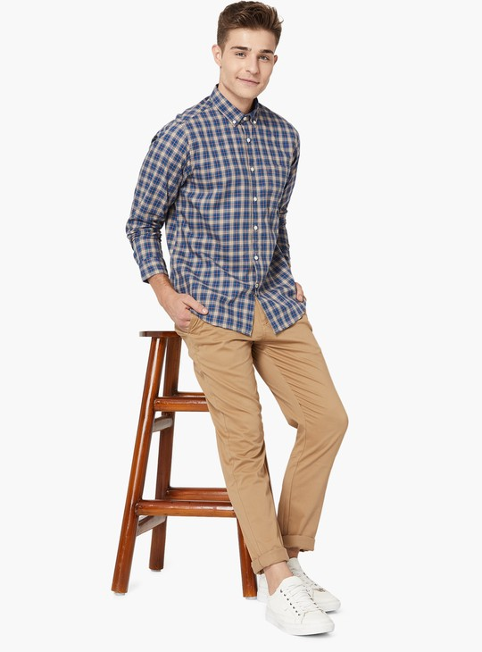 MAX Checked Button-Down Collar Shirt