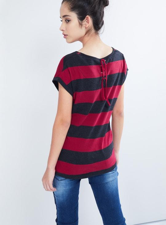 MAX Horizontal Stripe Cap Sleeve Top