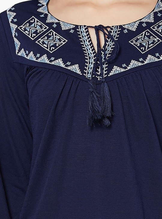 MAX Embroidered Cold-Shoulder Tunic