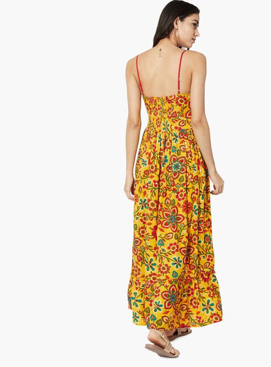 MAX Floral Print Gathered Maxi Dress
