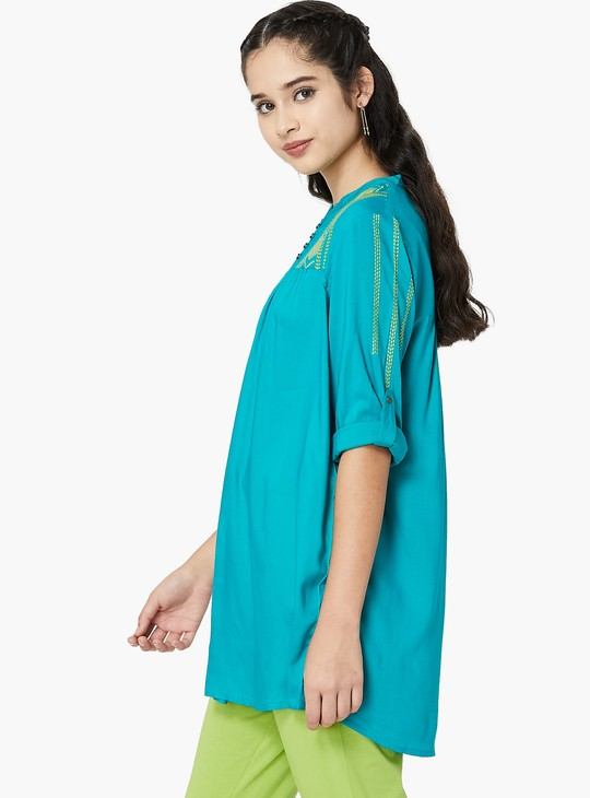 MAX Roll-Up Tabs Embroidered Tunic