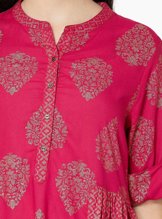 MAX Foil Print Tuinc with Button Placket