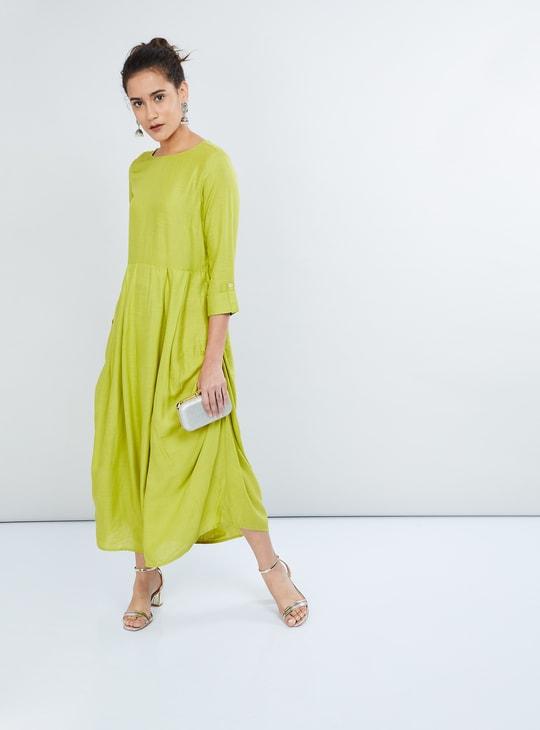 MAX Solid Gathered Side-Slit Ethnic Maxi Dress