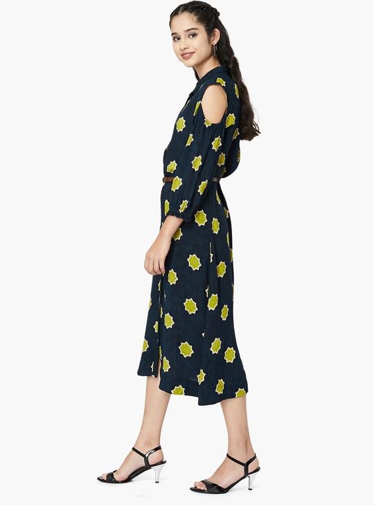 MAX Printed Cold-Shoulder Dress with Belt