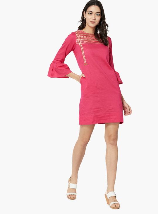 MAX Bell Sleeves Foil Print Shift Dress