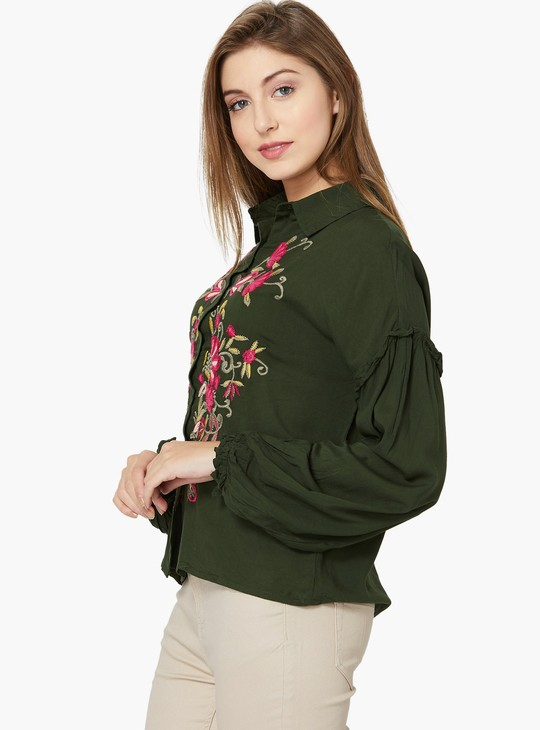 MAX Floral Embroidery Drop-Shoulder Shirt