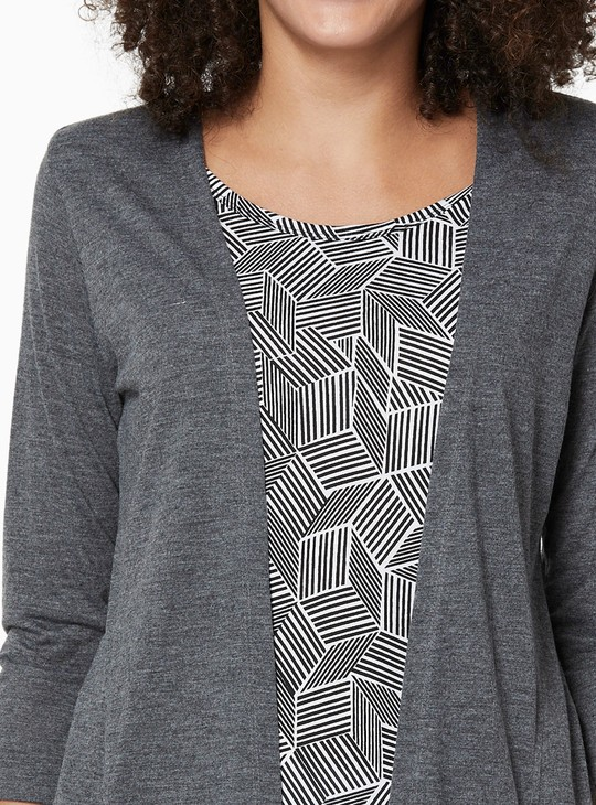 MAX Printed Top with Attached Shrug