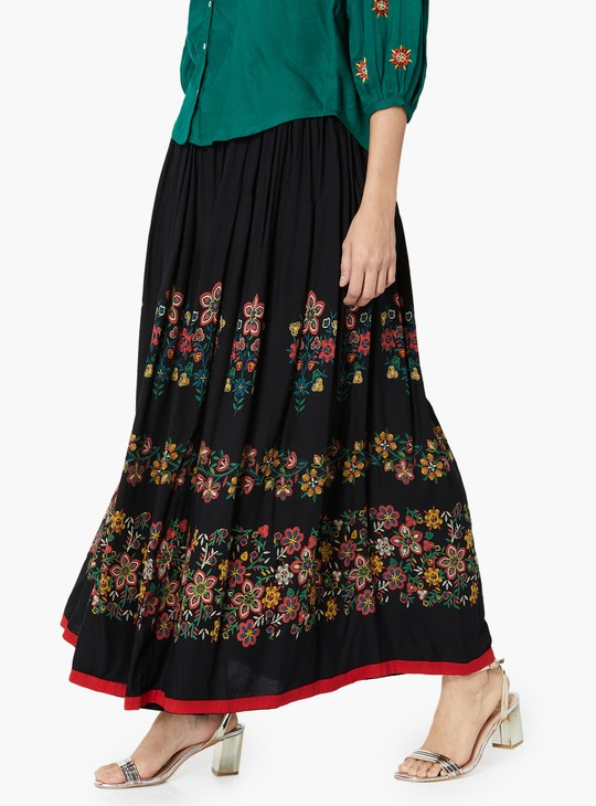 MAX Floral Print Gathered Skirt