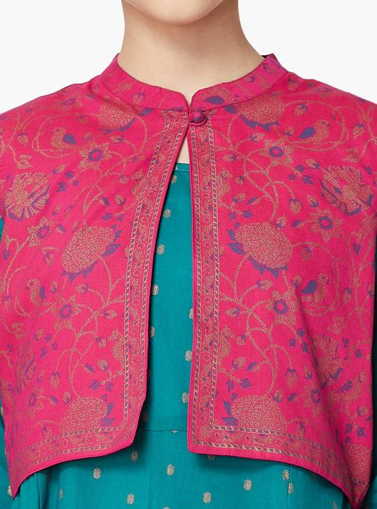 MAX Printed Three-Quarter Sleeve A-line Kurta With Ethnic Jacket