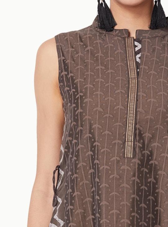 MAX Chevron Print Asymmetrical Sleeveless Kurta
