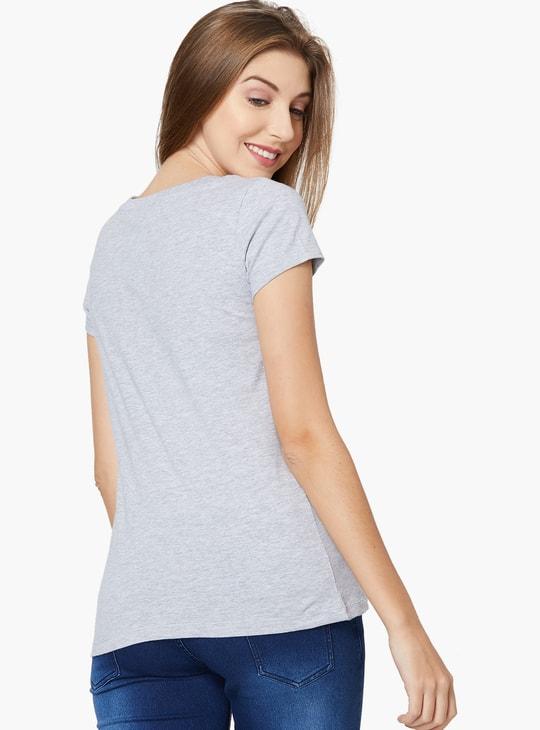 MAX Embossed Round Neck T-shirt