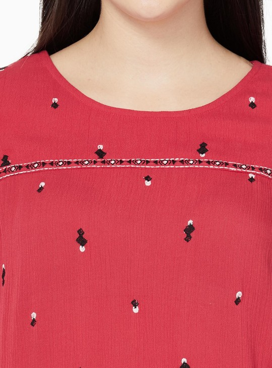 MAX Embroidered Cold Shoulder Bell Sleeves Top