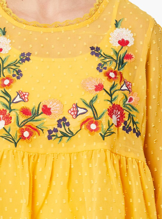 MAX Floral Embroidered Sheer Flared Top