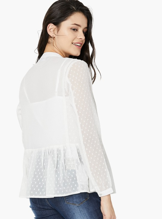 MAX Dobby Pattern Pleated Full Sleeve Top
