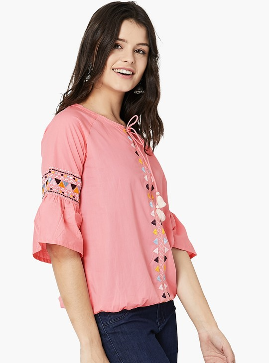 MAX Front Tie-Up Embroidered Top