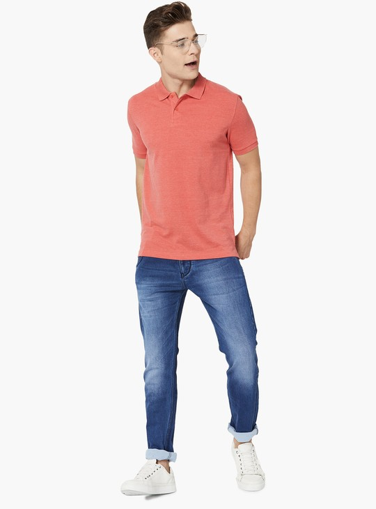 MAX Heathered Pique Knit Polo T-shirt